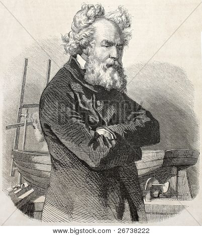 Old engraved portrait of Pierre Louis Frederic Sauvage, French engineer and inventor. Created by Gavarni, published on L'Illustration Journal Universel, Paris, 1857