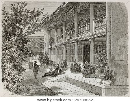 Old illustration of British Legation Verandah in Beijing. Created by Therond, published on Le Tour du Monde, Paris, 1864
