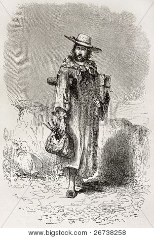 Self-portrait of a painter with his artist's tools. Created by Riou, published on Le Tour du Monde, Paris, 1864