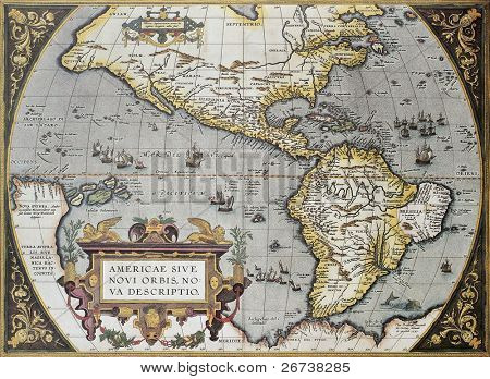 America old map, from Theatrum Orbis Terrarum, the first Atlas in the world. Created by Abraham Ortelius, published in Antwerp, 1570