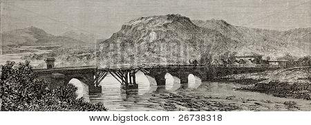 Old view of Antique Roman bridge over Sakaria (Sangarius) river, Bithynia region, Turkey. Created by Gaiaud, published on Le Tour du Monde, Paris, 1864