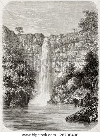 Old illustration of Reb river falls, Abyssinia. Created by De Bar, published on Le Tour du Monde, Paris, 1864