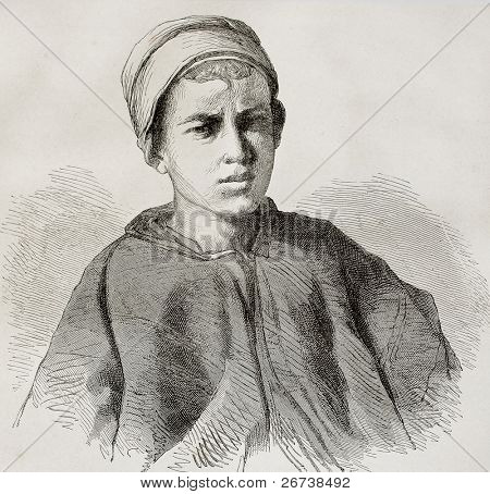 Old engraved portrait of a young camel driver of Sinai peninsula. Created by Pottin after sketch of Bida, published on Le Tour du Monde, Paris, 1864