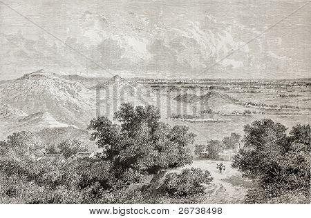 Antiga visão de Pequim no horizonte do Sudeste. Criado por Lancelot após desenho do unidentifie