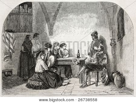 Old illustration of man and woman playing Seguidilla, old Castillan folksong form. Created by Dumas, published on L'Illustration Journal Universel, Paris, 1857