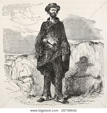 Old illustration of a sloppy man. Created by Riou, published on Le Tour du Monde, Paris, 1864
