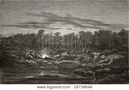 Old illustration of a night encampment at Mapitunuhuari, during Peru exploration. Created by Riou, published on Le Tour du Monde, Paris, 1864