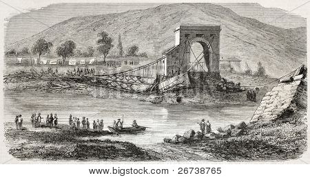 Old illustration of fallen bridge near Tournon, on the Doux river. Created by Berne, published on L'Illustration Journal Universel, Paris, 1857