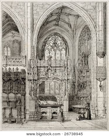 Old illustration of Margaret of Austria tomb in the Royal Monastery of Brou, France. Created by Matthieu, published on Magasin Pittoresque, Paris, 1850