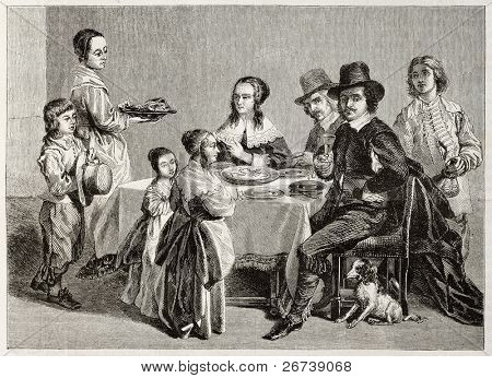 Old illustration of family meal. Created by Janet-Lange (sculp. Best, Hotelin and Regnier) after painting of Le Nain brothers. Published on Magasin Pittoresque, Paris, 1850