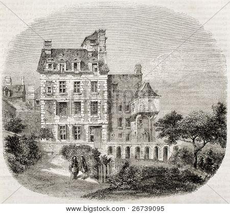 Antiga ilustração do pintor Philippe de Champaigne casa em Saint-Marceau, subúrbio de Paris. Criado por
