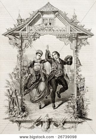Old representation of popular marriage feast in the Swiss canton of Fribourg. Created by Varin, published on Magasin Pittoresque, Paris, 1850