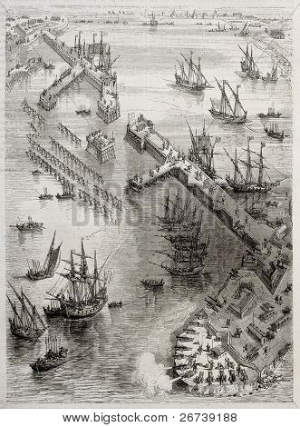 Siege of La Rochelle: view of Richelieu breakwater built by Du Plessis and Vassal. Created by Rouargue after engraving of 17th century by Callot. Published on Magasin Pittoresque, Paris, 1850