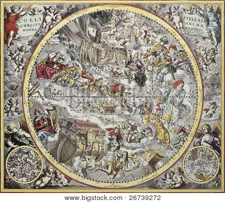 Old representation of Christian celestial hemisphere. From Atlas Coelestis, created by Andreas Cellarius, published in Amsterdam, ca. 1660