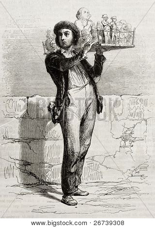 Old illustration of a plaster casts seller. Created by Girardet, published on Magasin Pittoresque, Paris, 1850