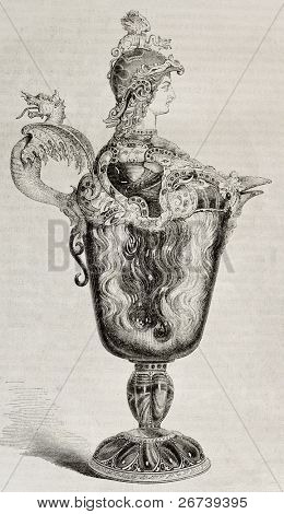 Old illustration of a 16th century decorated jug, attributed to Benvenuto Cellini, kept in Louvre museum. Created by Freeman, published on Magasin Pittoresque, Paris, 1850