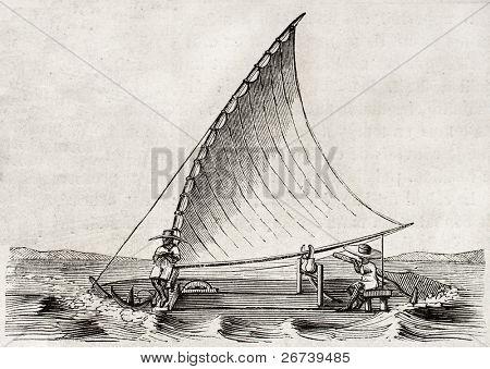 alte Illustration einer Jangada, traditionellen Fischerboot verwendet im Norden Brasiliens. durch uniden