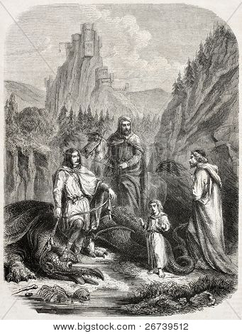 Old illustration depicting the dragon and other characters of the Roche Maurice legend. Created by Janet-Lange, published on L'Illustration Journal Universel, Paris, 1857