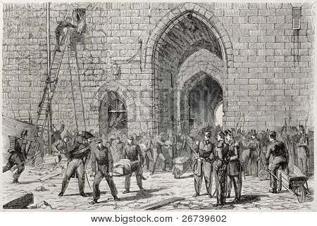 Old illustration of victim transportation after Vincennes castle tower collapse. Created by Peyronnet, published on L'Illustration Journal Universel, Paris, 1857