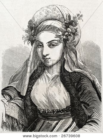 Old engraved portrait of Jewish woman in Constantinople. Created by Marc, published on L'Illustration Journal Universel, Paris, 1857