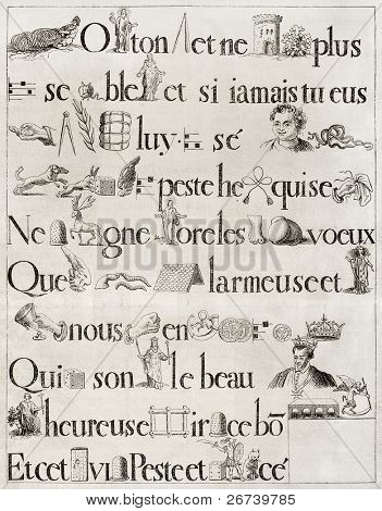 Old French rebus, from antique print of 1613. Hennin collection. Published on Magasin Pittoresque, Paris, 1850