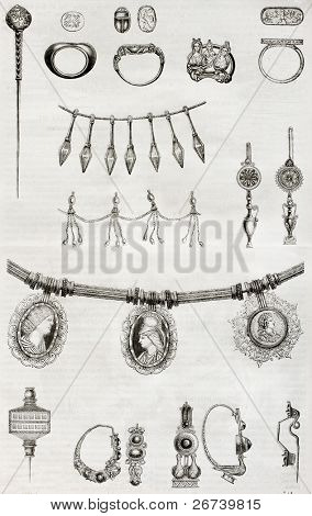 Old illustration of Etruscan and Roman jewels. By unidentified author, published on Magasin Pittoresque, Paris, 1850