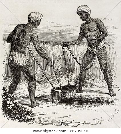 Old illustration of two Indians watering. Created by Hadamard, published on Magasin Pittoresque, Paris, 1850