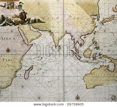 Indian ocean old map, southern Asia, eastern Africa and west Australia. Created by Hendrick Doncker, published in Amsterdam, 1705
