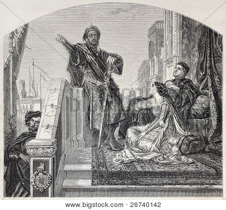 Old illustration of Othello telling his battles. Created by Cabanel, published on L'Illustration, Journal Universel, Paris, 1857
