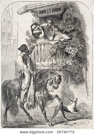 Old illustration of  Caballero paying homage to girls on a balcony. Created by Giraud, published on L'Illustration, Journal Universel, Paris, 1857