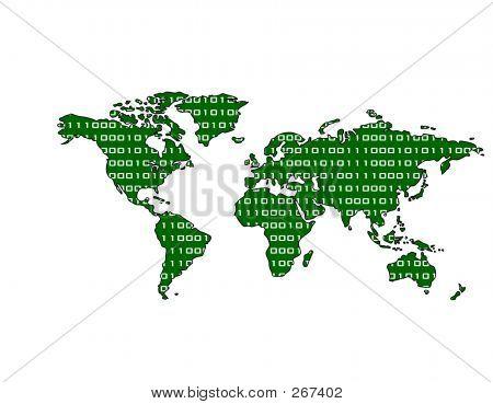 Binary World Map (green)