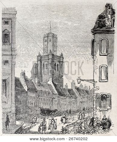 Old view of Boulogne Beffroi. Created by Sauvageot, published on L'Illustration, Journal Universel, Paris, 1857