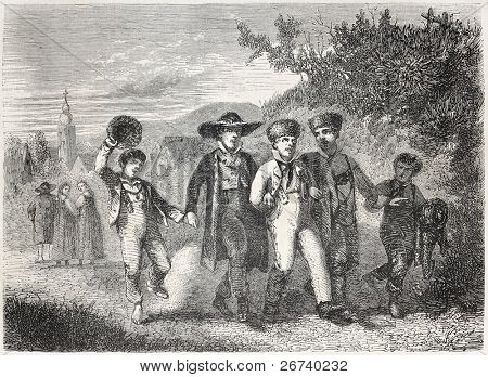 Old illustrations of boys having a walk togheter. Created by Jundt,  published on L'Illustration, Journal Universel, Paris, 1857