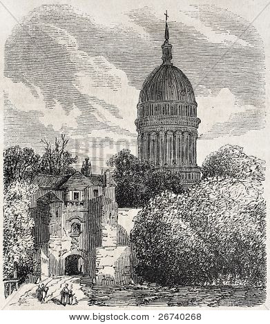 Old view of the dome of Notre-Dame de Boulogne Basilica. Created by Sauvageot, published on L'Illustration, Journal Universel, Paris, 1857