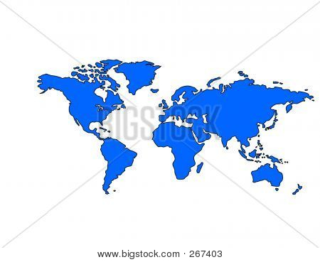 Picture or Photo of Blue world map