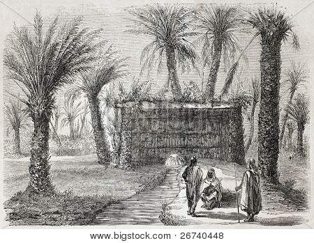Old illustration of artesian well in Tamerna Kedima, Algeria, Created by Gaildrau, published on L'Illustration, Journal Universel, Paris, 1857