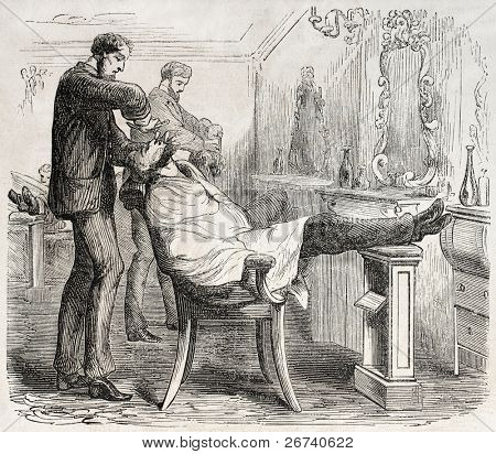 American way of life: old illustration of a barber shop. Created by Job, published on L'Illustration, Journal Universel, Paris, 1857