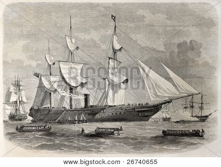 Old illustration of troops boarding in Spithead, England, leaving for India. By unidentified author, published on L'Illustration, Journal Universel, Paris, 1857