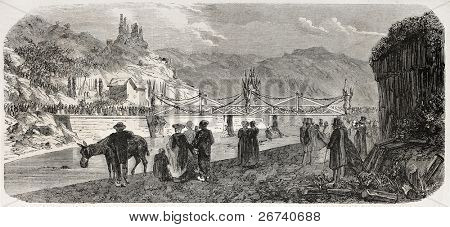 Old illustration of provisional bridge inauguration in Ardeche, France, after floading destruction. Created by Cuchet, published on L'Illustration Journal Universel, Paris, 1857
