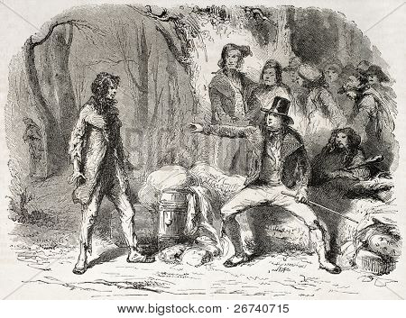Old Illustration of a rich man judging a poor. Created by Pauquet, published on L'Illustration Journal Universel, Paris, 1857