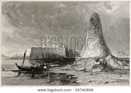 Old illustration of Skull tower in Djerba island, Tunisia. Created by Allom and Benjamin, published on Il Mediterraneo Illustrato, Spirito Battelli ed., Florence, Italy, 1841