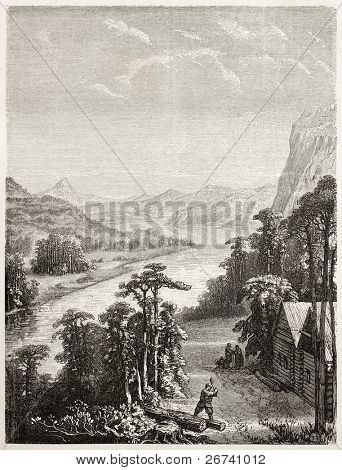 Old illustration of Amur river. Created by Grandsire and Gauchard after sketch of Raddle, published on Le Tour du Monde, Paris, 1860