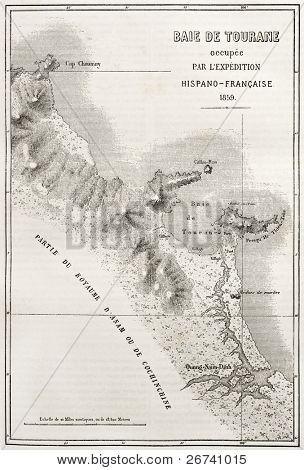 Old illustration of Tourane (nowadays Da Nang) bay map. Created by Erhard and Bonaparte, published on Le Tour du Monde, Paris, 1860