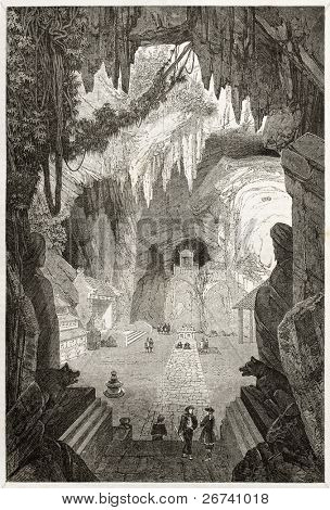 Old illustration of a Subterranean Buddhist temple near Tourane (nowadays Da Nang). Created by Therond, published on Le Tour du Monde, Paris, 1860