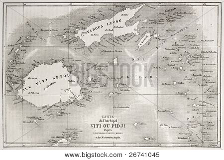 Old map of Fiji islands. Created by Erhard and Bonaparte after Vincendon, Dumoulin, Wilkes and British Missionaries, published on Le Tour du Monde, Paris, 1860