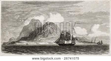 Old illustration of Montserrat island, Caribbean sea. Created by Berard after Reclus, published on Le Tour du Monde, Paris, 1860