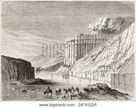 Antiga ilustração da paisagem rochosa no Novo México. Criado por Lancelot após Mollhausen, o publicado