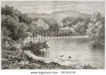 Old view of the Jordan river. Created by Daubigny after photo of unknown author, published on Le Tour du Monde, Paris, 1860