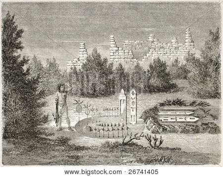Antiga ilustração do altar de Zuni. Criado por Lancelot após relatório feito sob a direção dos E.U.