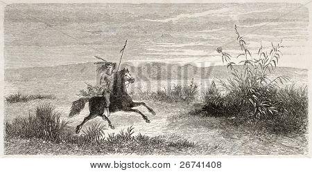 Antiga ilustração da equitação nativo americana de Mohave. Criado por Lancelot após relatório feito sob o d